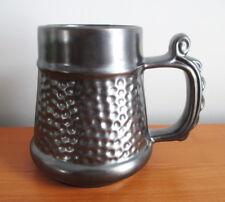 "Prinknash Abbey Pottery Tankard Mug Hammered Pewter Gunmetal Grey England 4 7/8"""