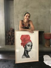 Limited edition / Framed Giclee print 'Angola Red' by Melbourne artist, Lionia