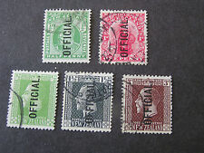 "*NEW ZEALAND, SCOTT #O23/O24(2)+O41/O42(2)+O46(5),1907-14 ""OFFICIAL"" ISSUE USED"