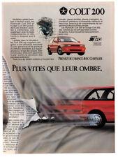 1990 CHRYSLER Colt 200 Vintage Original Print AD - Plymouth, Dodge red car photo