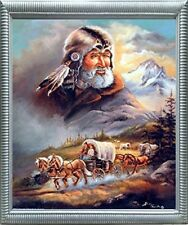 Western Covered Wagon Cowboy Living Room Wall Decor Art Silver Framed Picture