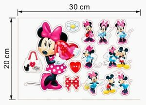 Disney Minnie Mickey Mouse Stickers A4 Sheet Childrens Bedroom Wall Sticker
