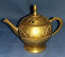 Miniature Vintage Indian Brass Ornamental Tea Pot Decorative Etched Leaves.
