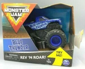 SPIN MASTER MONSTER JAM BLUE THUNDER REV 'N ROAR 1:43 NEW box bit damaged