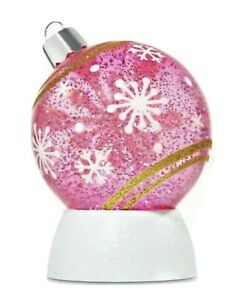 Bath & Body Works Pink Ornament Snow/Water Globe 3 Wick Candle Holder/Pedestal