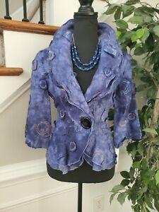 Design Todays Women Blue 100%Linen Long Sleeve Buttons Jacket Size Small
