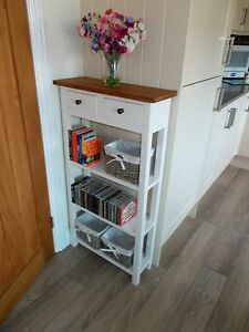 BESPOKE CONSOLE KITCHEN HALL 2 DRAWER TABLE 110 X 60 X 25cm WITH REAL OAK TOP