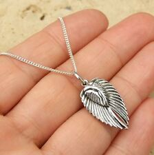 925 STERLING SILVER DOUBLE ANGEL WINGS PENDANT NECKLACE JEWELLERY