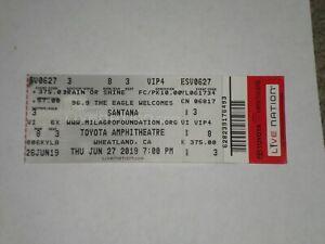Carlos Santana Doobie Brothers Ticket Stub 2019-Toyota Amphitheatre-Wheatland,CA