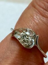 OLD CUT DIAMOND RING 14 KT WHITE GOLD VVS QUALITY & E COLOR