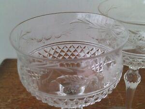Vintage Bohemian Hand Cut 24% Lead Crystal Wine Glasses x 2 # 1.