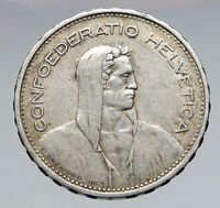 1933 Switzerland Founding HERO WILLIAM TELL 5 Francs Silver Swiss Coin i83056