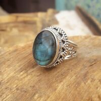 Labradorite Stone Solid 925 Sterling Silver Ring Meditation statement Ring SR305