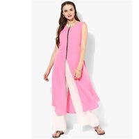 Indian Bollywood Pink Kurta Kurti Women Ethnic Dress Top Rayon Tunic Pakistani