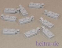 LEGO - 10 x Platte hellgrau 1x2 mit Clip an Längsseite / 63868 NEUWARE