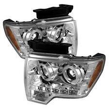 Projector Head Lights Lamps Ford F150 2009-2012 CCFL LED - Chrome