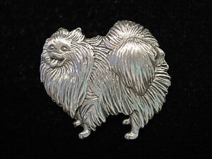 """JJ"" Jonette Jewelry Silver Pewter 'Prince POMERANIAN' Dog Pin"