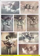 """8 Bügelbilder """" Engel Angel Kinder Mädchen """" Nostalgisch  A4  NO. 1358  Vintage"""