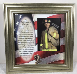 FIREMAN'S PRAYER Wood Framed Wall Art Decor Plaque