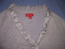 "misses XS ELLE heather gray ""very light wt"" SWEATER long sleeves ruffle EX SMALL"