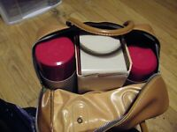 VTG 1950/60 Never Used Thermos Brand Red & Black Plaid Picnic Lunch Box Set USA
