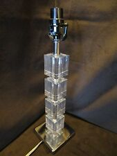 """Lucite Table Lamp Stacked 4 square blocks Chrome Base 3 Way 17.5"""" tall"""