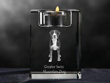Greater Swiss Mountain Dog, crystal candlestick with dog, Crystal Animals Ca