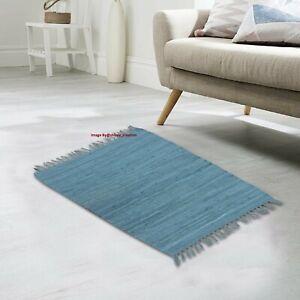 Rug 100% Cotton Hand woven 2x3 Feet  Area Rug Home Decor Carpet Chindi Rag