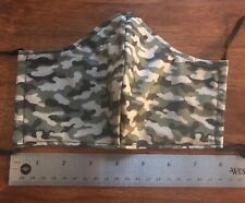 Camouflage Green & Black Camo Face Mask, 2 fabric layers, fitted