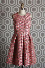 NWT Trina Turk Doly Petal Dress 6 $398 Jacquard Boatneck Criss Cross
