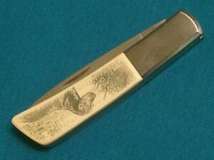 NM VINTAGE GERBER JAPAN SILVER KNIGHT BOUCHER LABRADOR BIRD DOG SCRIMSHAW KNIFE