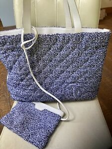 Authentic Chanel Cotton Beach Blue White Leather Tote Bag With Pochette