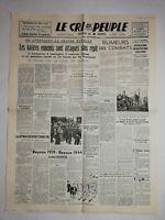 N1185 La Une Du Journal Le cri du peuple 12 juin 1944 navires ennemis attaqués