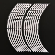 16 Pcs White Car Wheel Stickers Reflective Safety Rim Tape Stripe Decal 7Y2