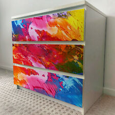 IKEA 3 DRAWERS MALM Abstract Painting Removable Textile Sticker for furniture