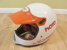 Vintage Bell Moto 3 Pro Motocross ATV Helmet Red White w/ Red Bell Visor sz XL