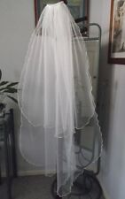 TWO TIER BRIDAL VEIL, FLUTED EDGE, 105 cm, WHITE or  IVORY COLOURS, NEW, AUST