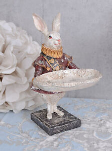 White Rabbit with Serving Bowl Alice in Wonderland Decorative Bowl fairy tale