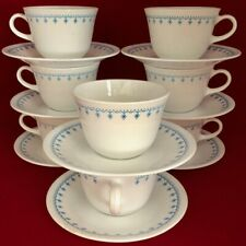 Pyrex Compatible Corelle Snowflake Garland 8 Cups and Saucers Set