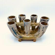 Charles Greber (1853-1935) French Art Nouveau Pottery Multi Bud Vase Signed