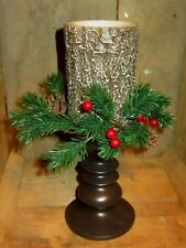 Dark Pillar Candle Holder with Battery Operated Wood Log Look Candle and Wreath
