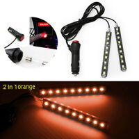 2x 9 LED Orange Car Interior Atmosphere Footwell Strip Light USB Decor Lamp Bar