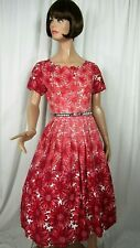 Vintage 1960s Dress Cotton Red Floral Ombre Size Med