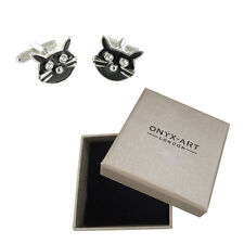 Mens Black Cat Halloween Cufflinks & Gift Box By Onyx Art