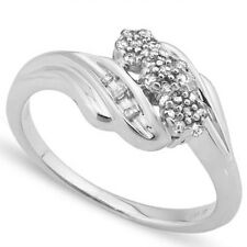LOVELY 0.10 CTW GENUINE DIAMOND 18K WHITE GOLD OVER 925 STERLING SILVER RING