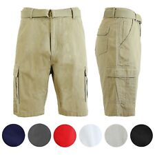 Mens Cotton Cargo Shorts Slim Fit Lounge Casual Flat Front Pockets Colors NWT