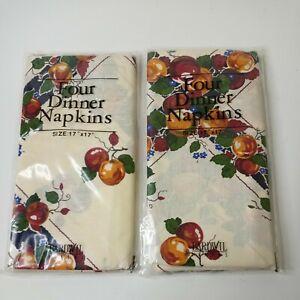 Set Of 8 Bardwil Linens Tan W/Dark Green & Burgundy Fruit Print Napkins NEW