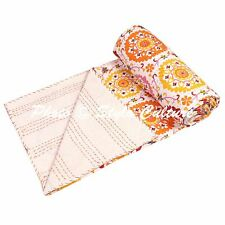 Indian Bed Cover Twin Cotton Printed Quilt Blanket Floral Kantha Quilts