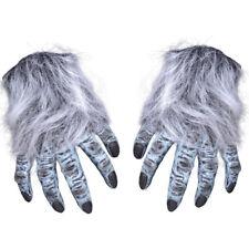 Adult Grey Hairy Gloves Wolf Werewolf Hands Halloween Fancy Dress Gloves