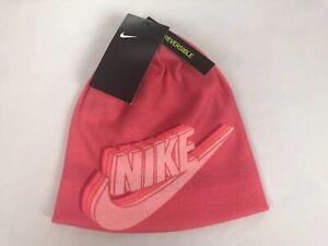 Nike Youth Unisex Reversible Beanie Coral/White